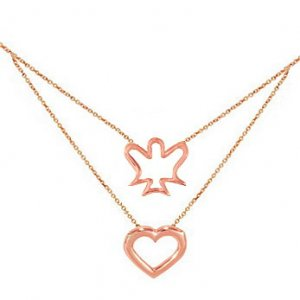 14K Solid Gold Heart Angel Necklace
