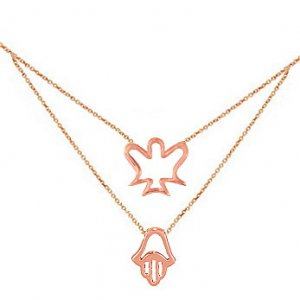 14K Solid Gold Angel Hamsa Palm Necklace