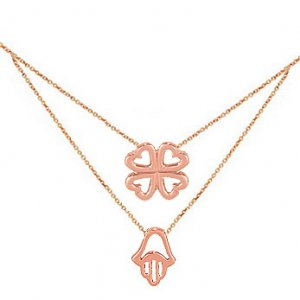 14K Solid Gold Hamsa Palm Clover Necklace