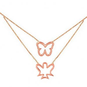 14K Solid Gold Butterfly Angel Necklace