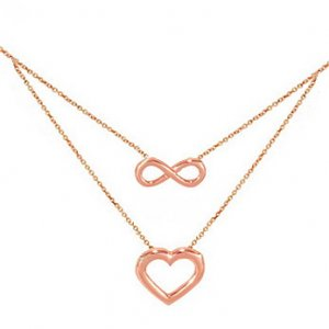 14K Solid Gold Heart Infinity Necklace