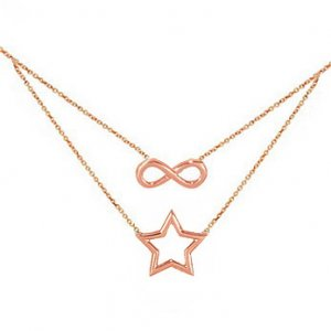 14K Solid Gold Infinity Star Necklace