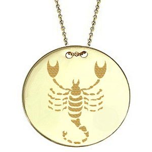 14K Solid Gold Locket Scorpio Medallion Blue Topaz Necklace