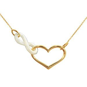 14K Solid Gold Heart Infinity Mother of Pearl Necklace