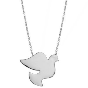 14K Solid Gold Bird Pigeon Necklace