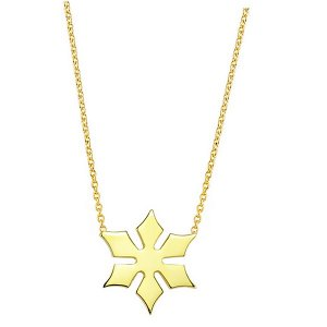 14K Solid Gold Snow Flake Necklace