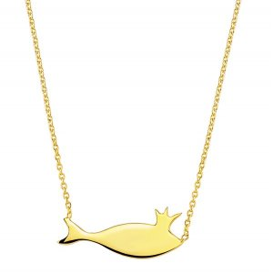 14K Solid Gold Fish Necklace