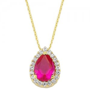 14K Solid Gold Halo Cubic Zirconia Necklace
