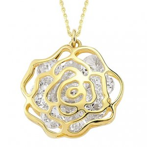 14K Solid Gold Rose Cubic Zirconia Necklace