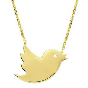 14K Solid Gold Bird Necklace