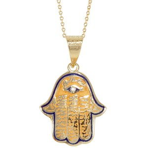 14K Solid Gold Modern Design Hamsa Palm Evil Eye Necklace