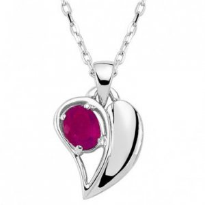 0.30ct. Ruby 14K Solid Gold Heart Necklace