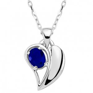 0.30ct. Sapphire 14K Solid Gold Heart Necklace