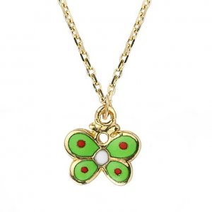 14K Solid Gold Enamel Butterfly Necklace