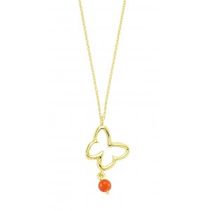 14K Solid Gold Modern Design Butterfly Coral Necklace