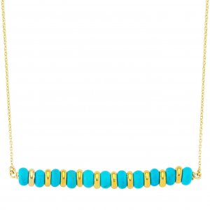 14K Solid Gold Turquoise Necklace
