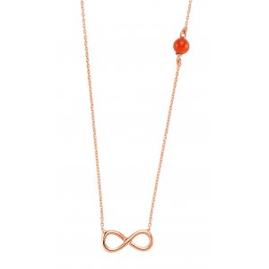 14K Solid Gold Modern Design Infinity Coral Necklace