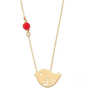14K Solid Gold Modern Design Bird Coral Necklace