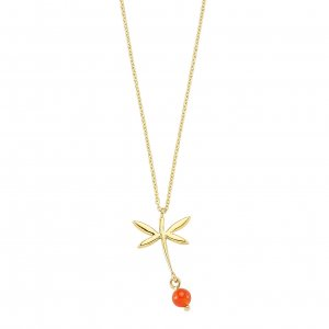 14K Solid Gold Modern Design Dragonfly Coral Necklace