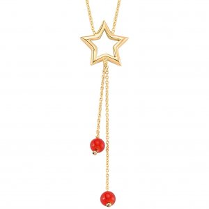 14K Solid Gold Modern Design Star Coral Necklace