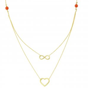 14K Solid Gold Modern Design Heart Infinity Coral Necklace