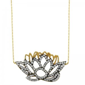 14K Solid Gold Modern Design Flower Lotus Cubic Zirconia Necklace