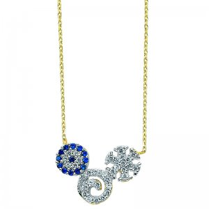 14K Solid Gold Modern Design Snow Flake Evil Eye Cubic Zirconia Necklace