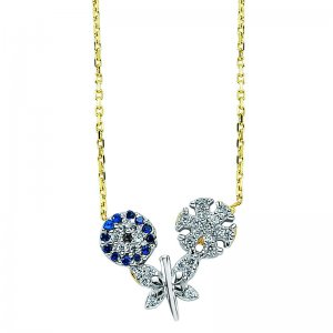 14K Solid Gold Butterfly Snow Flake Evil Eye Cubic Zirconia Necklace