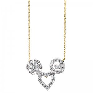 14K Solid Gold Modern Design Heart Snow Flake Cubic Zirconia Necklace