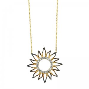 14K Solid Gold Modern Design Sun Cubic Zirconia Necklace