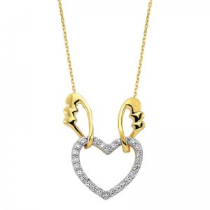 14K Solid Gold Modern Design Heart Wing Cubic Zirconia Necklace
