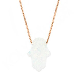 14K Solid Gold Modern Design Hamsa Palm Opalite Necklace