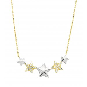 14K Solid Gold Modern Design Star Cubic Zirconia Necklace