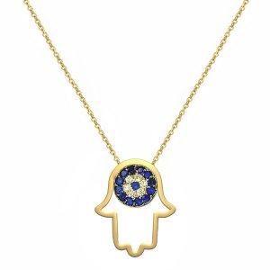 14K Solid Gold Modern Design Evil Eye Hamsa Palm Cubic Zirconia Necklace