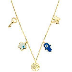 14K Solid Gold Drop Dangle Butterfly Key Evil Eye Hamsa Palm Daisy Life Tree Cubic Zirconia Necklace