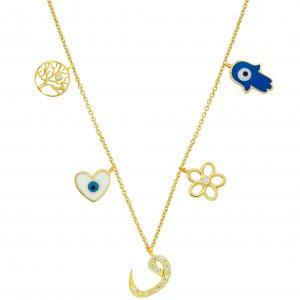 14K Solid Gold Drop Dangle Heart Evil Eye Hamsa Palm Daisy Vav Life Tree Cubic Zirconia Necklace