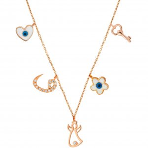 14K Solid Gold Enamel Heart Angel Key Evil Eye Daisy Vav Cubic Zirconia Necklace