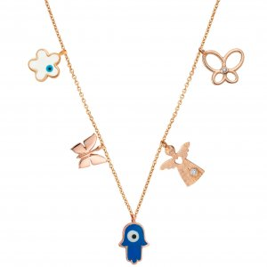 14K Solid Gold Enamel Butterfly Angel Evil Eye Hamsa Palm Daisy Cubic Zirconia Necklace