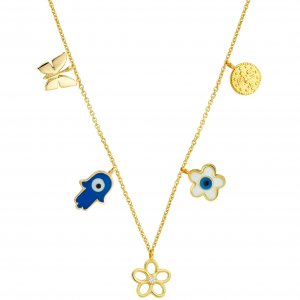 14K Solid Gold Enamel Butterfly Evil Eye Hamsa Palm Daisy Tugra Cubic Zirconia Necklace