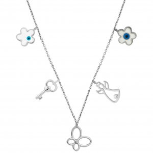 14K Solid Gold Enamel Butterfly Angel Key Evil Eye Daisy Cubic Zirconia Necklace