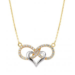 14K Solid Gold Modern Design Heart Infinity Cubic Zirconia Necklace