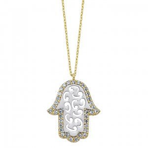 14K Solid Gold Modern Design Hamsa Palm Cubic Zirconia Necklace