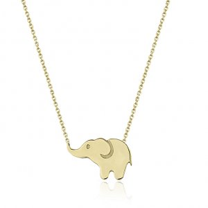 14K Solid Gold Modern Design Elephant Necklace
