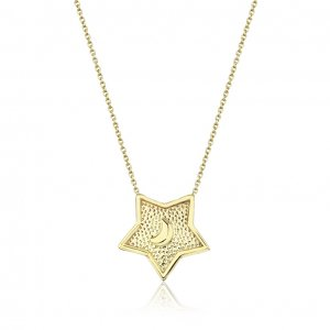 14K Solid Gold Modern Design Moon Star Necklace
