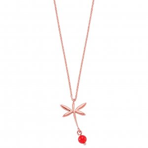 8K Solid Gold Modern Design Dragonfly Coral Necklace
