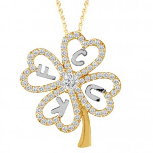 14K Solid Gold Modern Design Initial Name Clover Cubic Zirconia Necklace