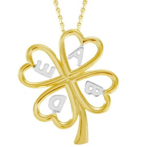 14K Solid Gold Initial Name Clover Necklace