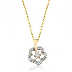 14K Solid Gold Modern Design Flower Daisy Cubic Zirconia Necklace