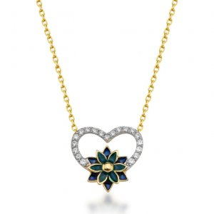 14K Solid Gold Modern Design Heart Flower Cubic Zirconia Necklace