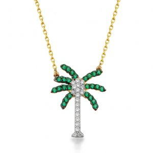 14K Solid Gold Modern Design Flower Palm Cubic Zirconia Necklace